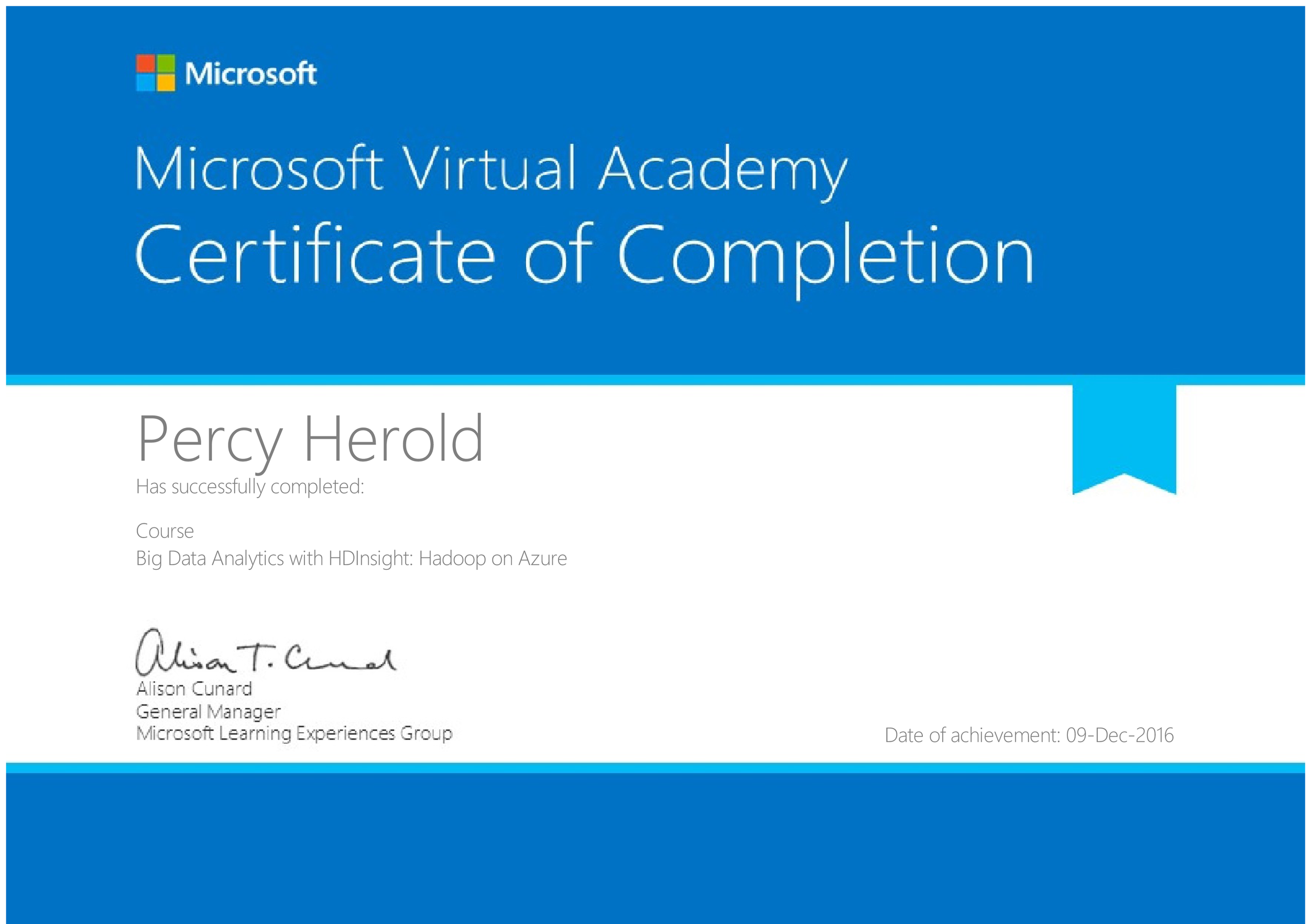Percy Herold Certificate Of Completion Big Data Analytics With
